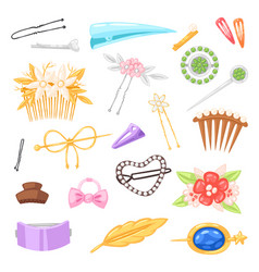hair accessory hairpin or hair-slide and vector image