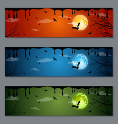 Halloween colorful banners set vector