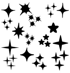 hand drawn sparkles symbols isolated on white vector image