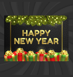 Happy new year christmas card gift box garland vector