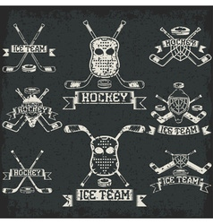 hockey sport club grunge vintage labels set vector image