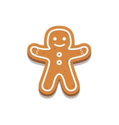 holiday gingerbread man cookie icon vector image