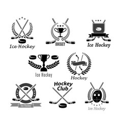 Ice hockey club or tournament award symbols vector