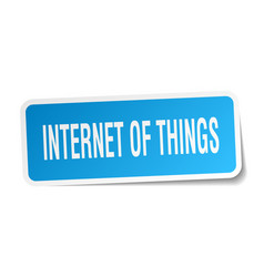 Internet of things square sticker on white vector
