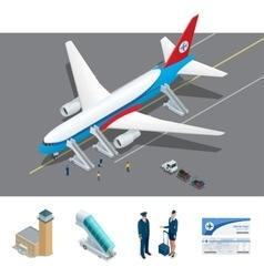 Isometric representing airport jet vector