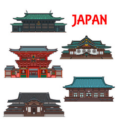 Japanese travel landmarks tokyo buildings vector