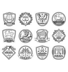 jewish religion icons monochrome vector image