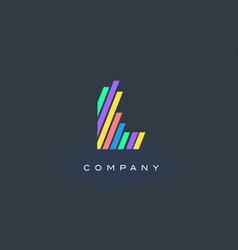 L letter logo with colorful lines design rainbow vector