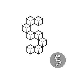 Letter s logo consists of 3d sugar cubes vector