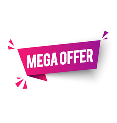 mega offer label colorful web banner element vector image