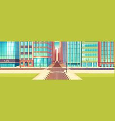 Metropolis empty street crossroads cartoon vector