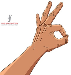 Okay hand sign African ethnicity detailed vector image