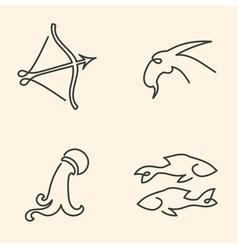 One line zodiac symbols set vector