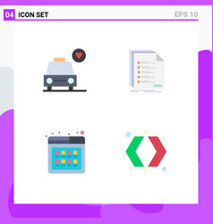 Pack 4 creative flat icons car online check vector