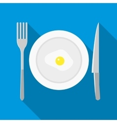 Plate with fried egg icon in flat style vector image