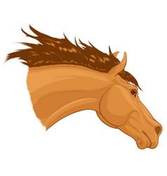 Portrait a running sorrel horse with long mane vector
