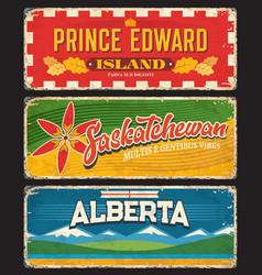 Prince edward island saskatchewan alberta plates vector
