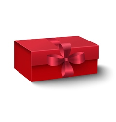 Red oblong gift box with red ribbon and bow vector image