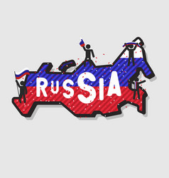 russia map and soccer or football fans cheering vector image