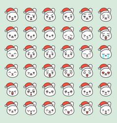 Santa rabbit emotion face in various expession vector