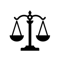 scale justice black color logo vector image