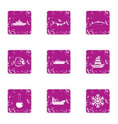 sea beach icons set grunge style vector image