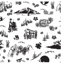 Seamless pattern with japanese miniatures vector