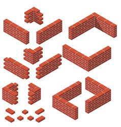 set isometric masonry items vector image