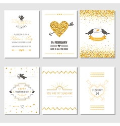 Set love cards - wedding valentines day vector