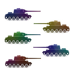 Set of five battle retro multicolor tanks vector