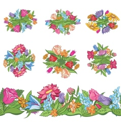 Set of floral designs and seamless border vector image