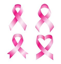 set pink breast cancer ribbons vector image