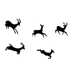 set - silhouettes of mountain goats vector image
