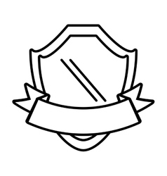 shield with ribbon emblem outline empty vector image vector image