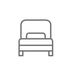 single bed hotel room line icon vector image