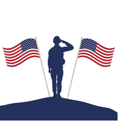 Soldier saluting silhouette with usa flags vector