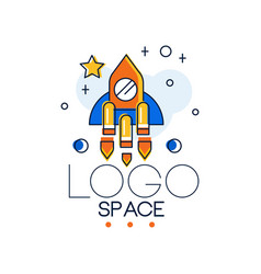 space logo space mission and exploration label vector image