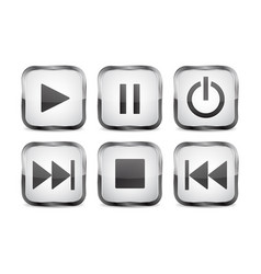 square 3d buttons glass icons with chrome frame vector image