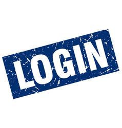 Square grunge blue login stamp vector
