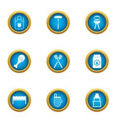 Street bbq icons set flat style vector