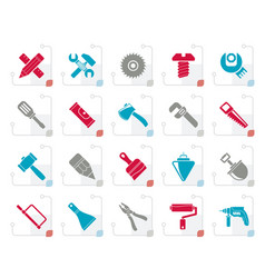 Stylized construction tools object icons vector