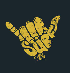 Surfing hand sign print vector