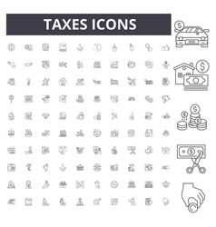 Taxes line icons signs set outline vector