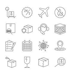 Thin line icons set of shipping and delivery vector