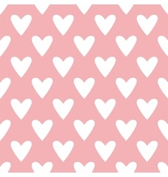 Tile cute pattern with white hearts on pastel pink vector