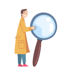 Tiny man holding huge magnifier male detective vector