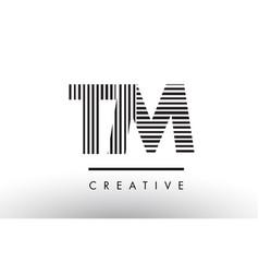 Tm t m black and white lines letter logo design vector