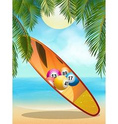 Tropica beach with bingo surfboard vector