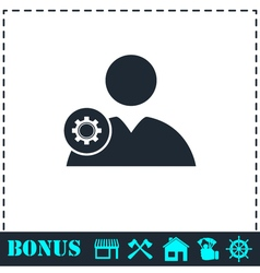 User with gear icon flat vector