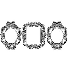 vintage baroque frame decor set collection vector image
